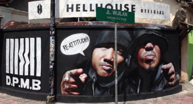 Graffiti artist's homage to DPMB on Jl Wijilan, Jogjgakarta